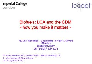 Biofuels: LCA and the CDM - how you make it matters -