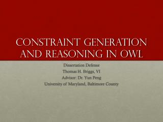 Constraint Generation and Reasoning in OWL