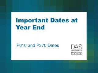 Important Dates at Year End
