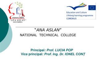 Principal : Prof. LUCIA POP                Vice principal : Prof. Ing. Dr. IONEL CONŢ