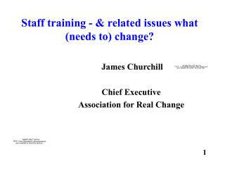 Staff training - & related issues what (needs to) change?