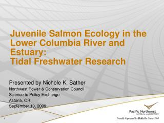 Juvenile Salmon Ecology in the Lower Columbia River and Estuary:  Tidal Freshwater Research