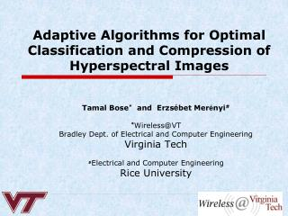 Adaptive Algorithms for Optimal Classification and Compression of Hyperspectral Images