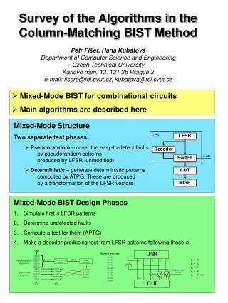 Mixed-Mode BIST for combinational circuits  Main algorithms are described here