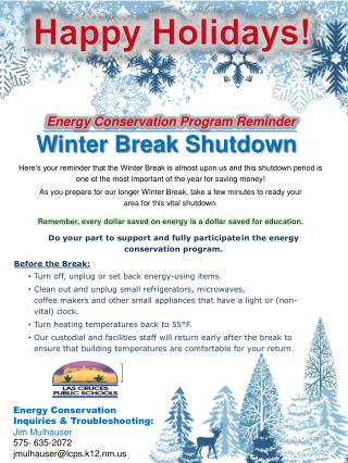 Energy Conservation Program Reminder