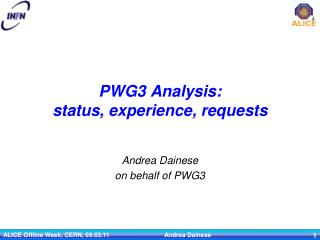 PWG3 Analysis: status, experience, requests