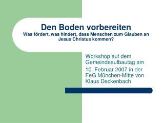 Workshop auf dem Gemeindeaufbautag am