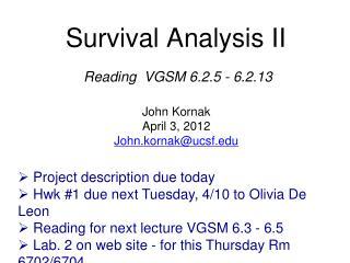 Survival Analysis II
