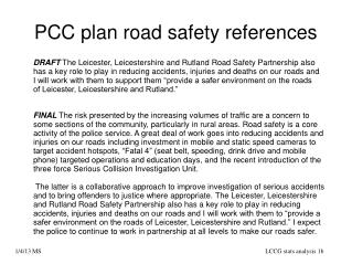 PCC plan road safety references