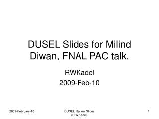 DUSEL Slides for Milind Diwan, FNAL PAC talk.