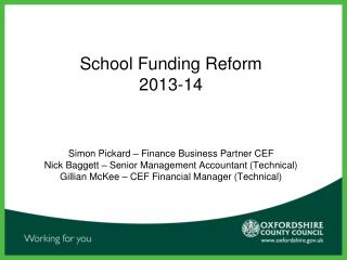 School Funding Reform 2013-14