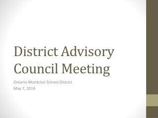 District Advisory Council Meeting