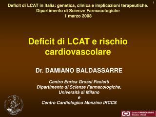 Deficit di LCAT e rischio cardiovascolare