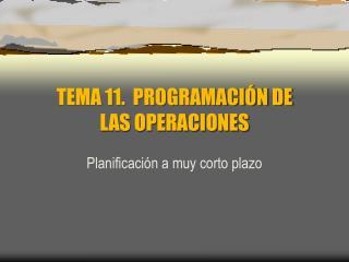 TEMA 11.  PROGRAMACI�N DE  LAS OPERACIONES