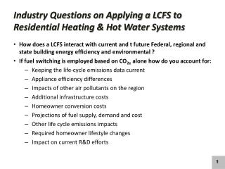 Industry Questions on Applying a LCFS to Residential Heating & Hot Water Systems