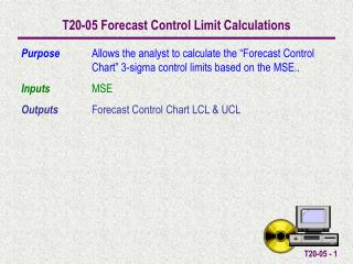 T20-05 Forecast Control Limit Calculations