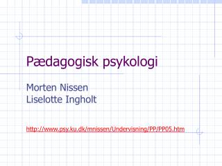 P dagogisk psykologi