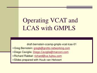 Operating VCAT and LCAS with GMPLS