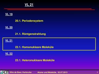VL 19 20.1. Periodensystem VL 20 21.1. Röntgenstrahlung VL 21 22.1. Homonukleare Moleküle VL 22