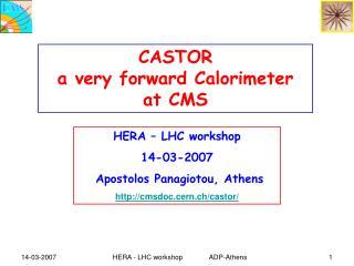 HERA – LHC workshop 14-03-2007  Apostolos Panagiotou, Athens