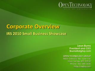 Corporate Overview  IRS 2010 Small Business Showcase