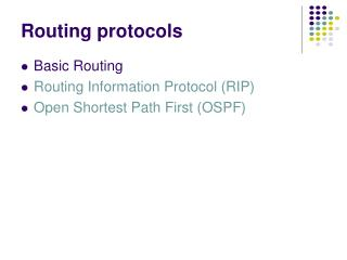 Routing protocols