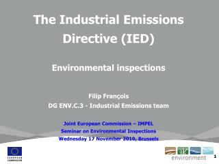The Industrial Emissions Directive (IED) Environmental inspections