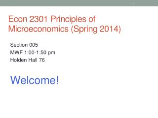 Econ 2301  Principles of  Microeconomics (Spring 2014)