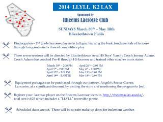 Sponsored By Rheems Lacrosse Club