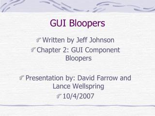 GUI Bloopers