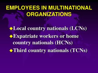 EMPLOYEES IN MULTINATIONAL ORGANIZATIONS