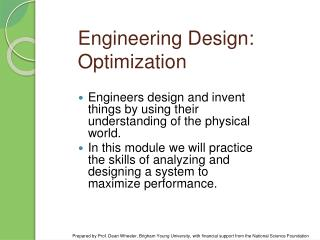 Engineering Design: Optimization