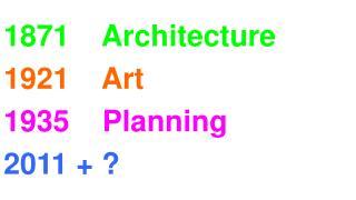 1871    Architecture 1921    Art 1935    Planning 2011 + ?