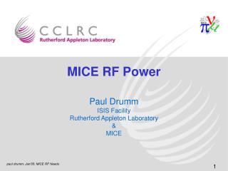 MICE RF Power