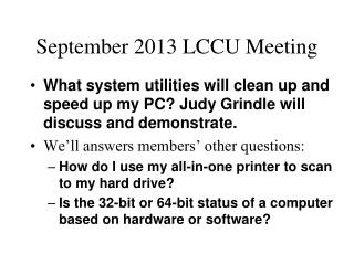September 2013 LCCU Meeting