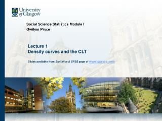 Social Science Statistics Module I Gwilym Pryce