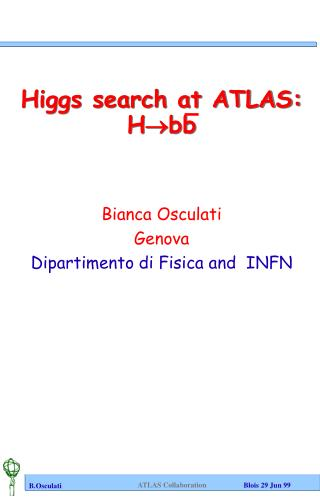 Higgs search at ATLAS: H bb