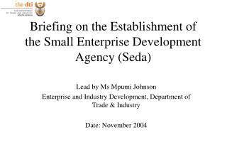 Briefing on the Establishment of  the Small Enterprise Development Agency (Seda)