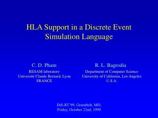 HLA Support in a Discrete Event  Simulation Language