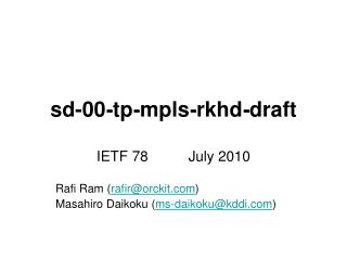 draft - rkhd - mpls - tp - sd-00
