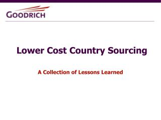 Lower Cost Country Sourcing