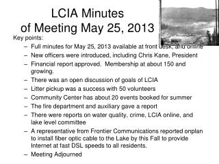 LCIA Minutes  of Meeting May 25, 2013