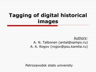 Tagging of digital historical images