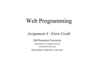 Web Programming Assignment 4 - Extra Credit