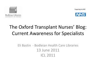 The Oxford Transplant Nurses' Blog: Current Awareness for Specialists