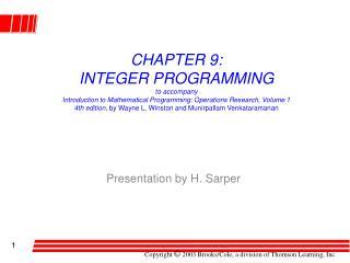 Presentation by H. Sarper