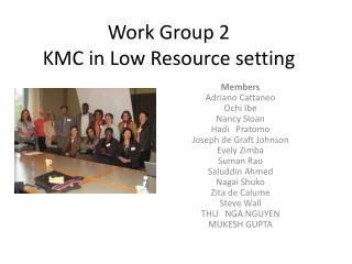 Work Group 2 KMC in Low Resource setting