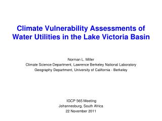 Climate Vulnerability Assessments of  Water Utilities in the Lake Victoria Basin