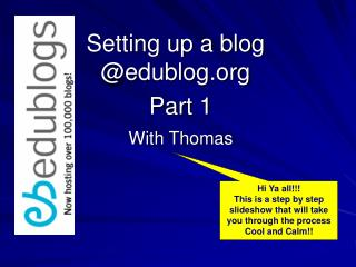 Setting up a blog @edublog