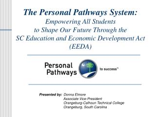 The Personal Pathways System: Empowering All Students  to Shape Our Future Through the  SC Education and Economic Develo
